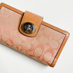 Coach Pink Signature Leather Trim Turn Lock Wallet